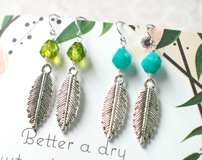 BFF Earrings // For Best Friends // Peridot Green Quartz// Amazonite // Chic & Cool // 925 Sterling Silver // Everyday Style // Leaf Charms