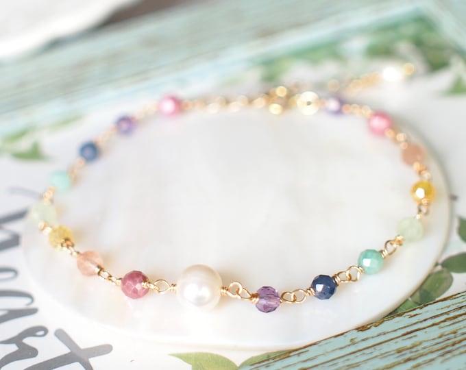 Rainbow Gems x Pearl Charm Bracelet // Sparkly & Sweet // 14K Gold-filled // Dainty