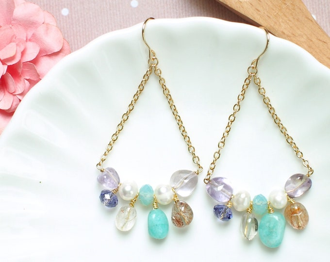 Gem Stones x Swarovski Crystals Earrings // 14K Gold-filled // Colourful & Elegant // Amethyst // Amazonite // Quartz // Pearls