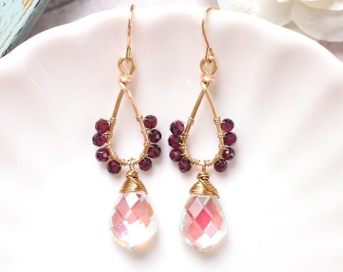 Rainbow Quartz x Garnet Earrings // Sparkly & Elegant // 14K Gold-filled // One of a kind