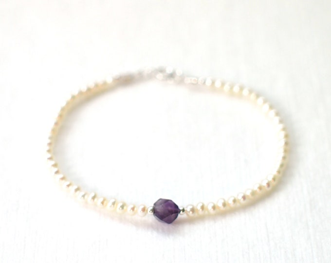 Pearl Bracelet // Purple Amethyst Charm // 925 Sterling Silver // Stackable // Sweet & Chic