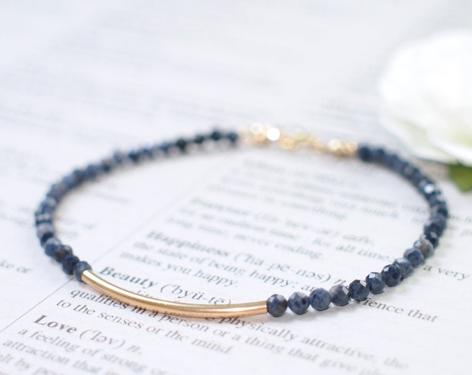 Blue Sapphire Bracelet // Sassy & Elegant // 14 Gold-filled // Stackable // Dainty