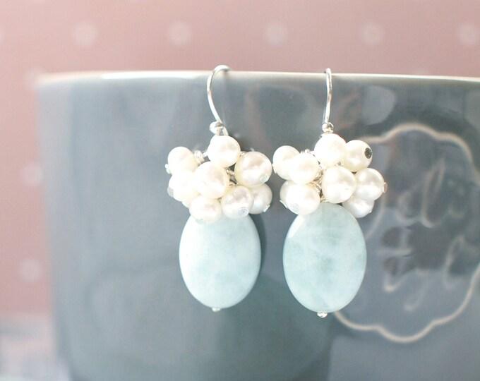 Aquamarine x Pearls Earrings // Pearl Cluster // 925 Sterling Silver // Graceful & Elegant