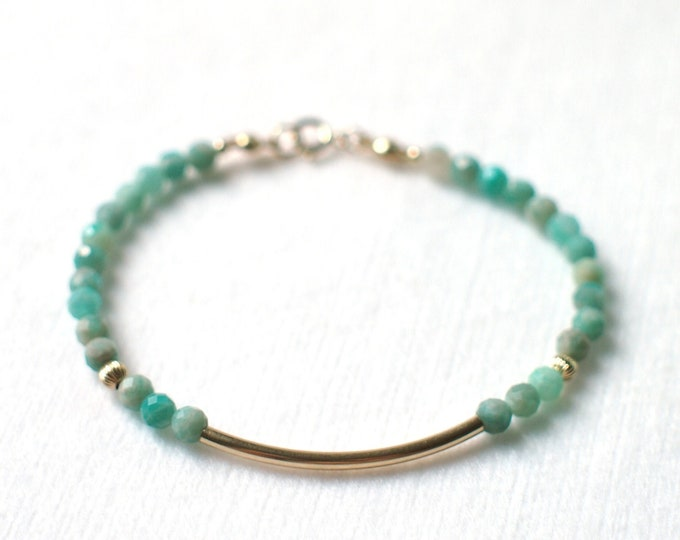 Amazonite Bracelet // Dainty & Chic // 14K Gold-filled // Stackable