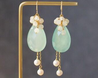 Aqua Chalcedony x Fresh Water Pearl Earrings // Statement Earrings // White Moonstones // 14K Gold-filled // Elegant & Gorgeous