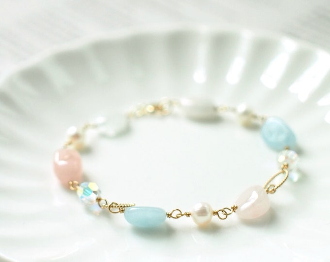 Morganites x Pearls x Swarovski Crystals Bracelet // Sweet and Chic // 14K Gold-filled // Stackable // Feminine
