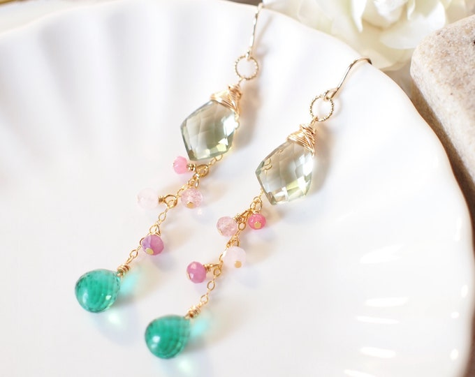 Green Amethyst x Green Quartz Earrings // Dangling Style // 14K Gold-filled // Wire-wrapped // Assorted Gems // Refreshing & Feminine