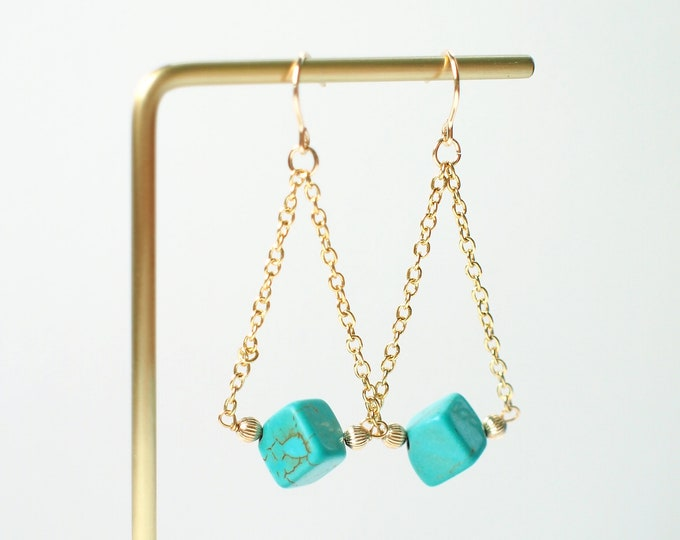 Turquoise Earrings // Unique & Sassy // 14K Gold-filled
