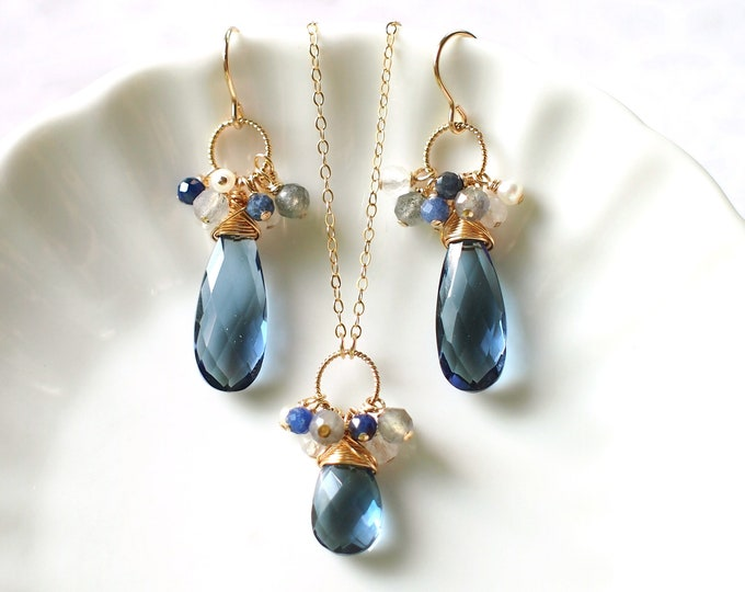 London Blue Quartz Bridesmaids Set // Assorted Gems Cluster // 14K Gold-filled // Elegant & Classy