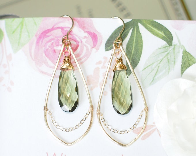 Olive Green Quartz Earrings // Sparkly & Precious // 14K Gold-filled // Sassy and Sophisticated// Wirewrapped
