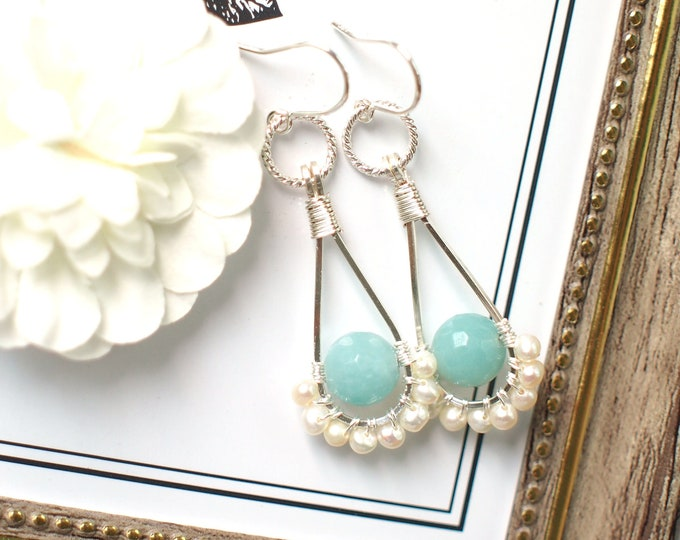 Amazonite x Pearls Earrings // Stylish & Chic // 925 Sterling Silver // Everyday Style