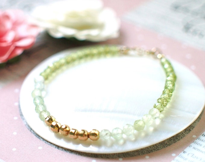 Peridot x Prehnite Bracelet // Sparkly & Chic // 14K Gold-filled // Stackable