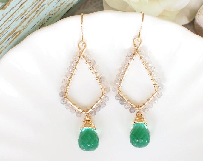 Emerald Green Quartz x Labradorite Earrings // Oriental Style // Classy & Sophisticated // 14K Gold-filled // Wirewrapped