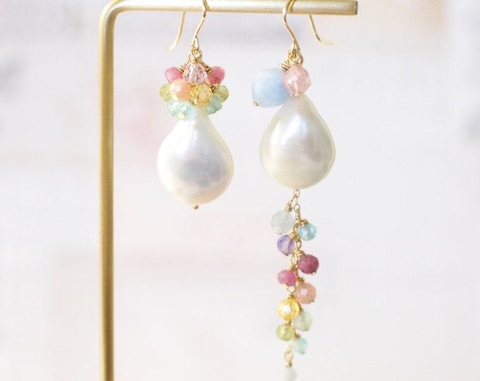 Baroque Pearl x Rainbow Gems Earrings // Asymmetrical Statement Earrings // Gems Cluster // 14K Gold-filled// One of a kind