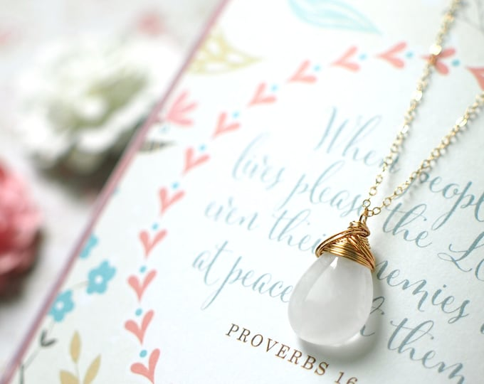 Clear White Quartz Pendant // 14K Gold-filled Necklace // Wire-wrapped // Timeless & Sophisticated