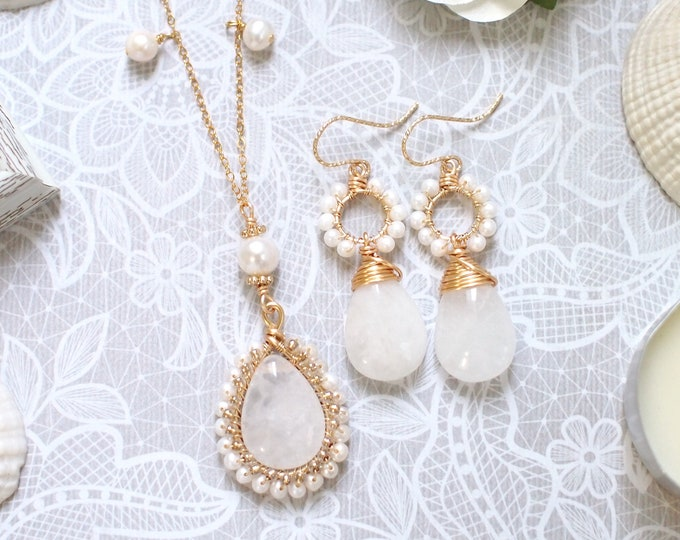 White Quartz x Pearls Long Necklace + Earrings Set // Vintage Inspired // 14K Gold-filled // Wire-wrapped // Precious & Elegant