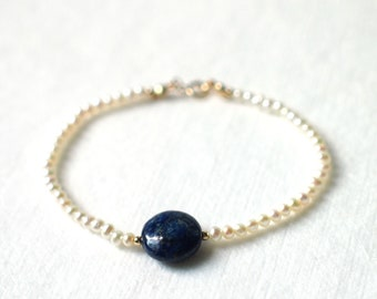 Pearl Bracelet // Lapis Lazuli Charm // Dainty & Chic // Stackable // 14K Gold-filled