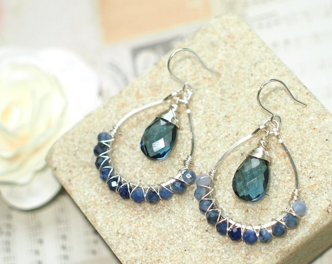 London Blue Quartz x Blue Sapphire Earrings // Sparkly & Precious // 925 Sterling Silver // Chic and Stylish