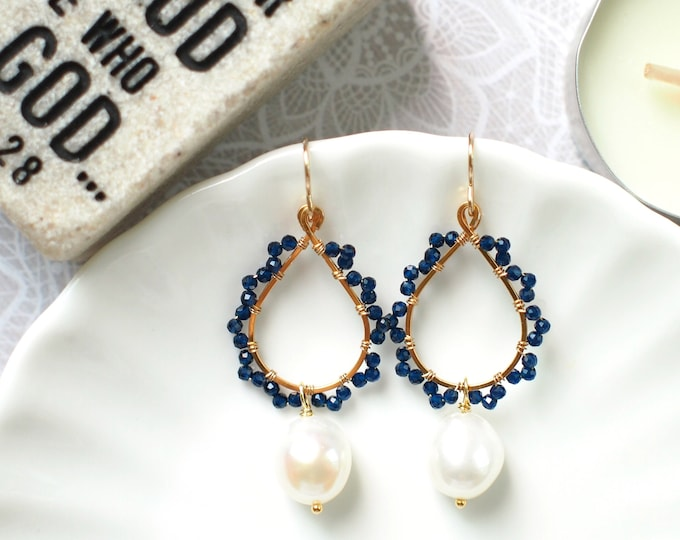 Baroque Pearls x Blue Quartz Earrings // 14K Gold-filled // Wire-wrapped // Precious & Elegant