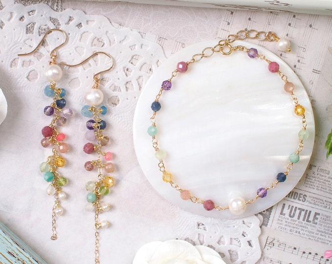 Rainbow Earrings + Bracelet Set // Assorted Rainbow Gems// 14K Gold-filled // Sweet & Cheerful