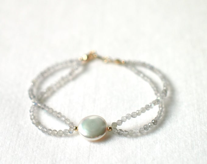 Labradorite Bracelet // Pearl Charm // Dainty & Graceful // Stackable // 14K Gold-filled