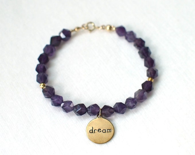 Amethyst Bracelet // Imagine Charm // 14K Gold-filled // Elegant // Stackable