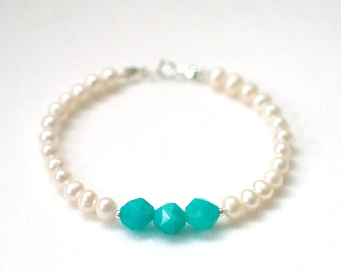 Amazonite x Pearl Bracelet // Chic & Unique // Stackable // 925 Sterling Silver