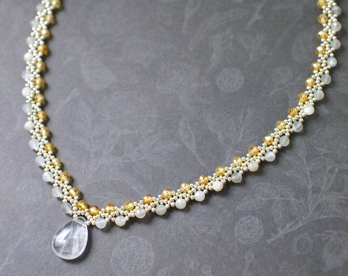 Clear White Quartz x Moonstones x Yellow Zirconia Necklace // Statement Necklace // Timeless & Graceful // Bridal // 925 Sterling Silver