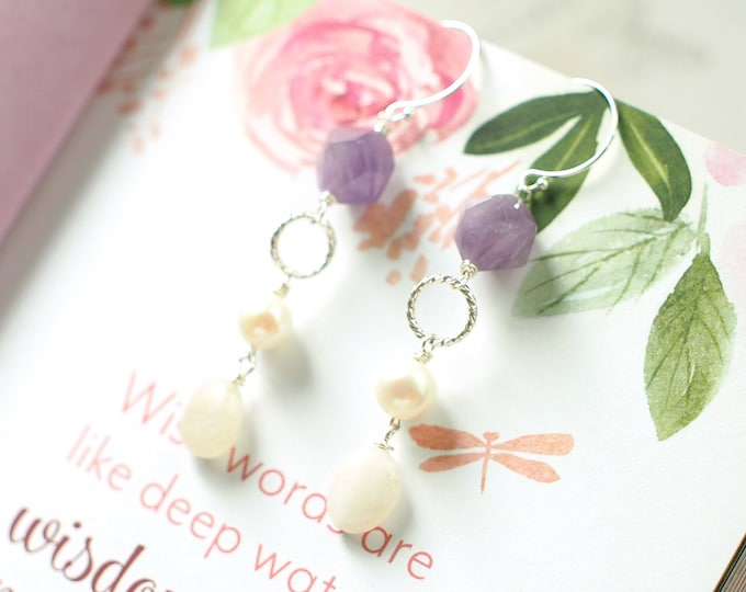 Lavender Amethyst x  Pearl x Pink Morganite Earrings // Elegant & Sweet // 925 Sterling Silver // Everyday Style