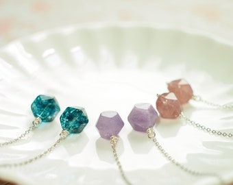 Gem Stones Threader Earrings // Lavender Amethyst // Blue Quartz // Strawberry Quartz // Sterling Silver // 14K Gold-filled