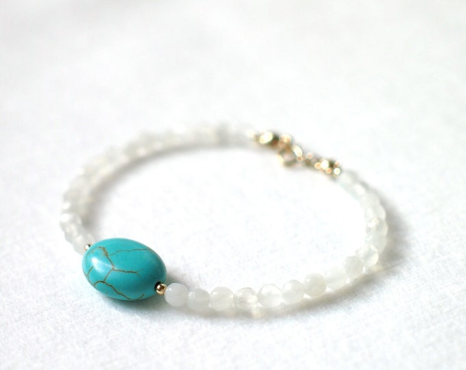 Moonstone Bracelet // Turquoise Charm // Dainty & Chic // Stackable // 14K Gold-filled