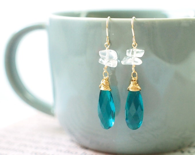 Teal Quartz x Clear Quartz Chip Beads Earrings // 14K Gold-filled // Wire-wrapped // Sassy & Chic
