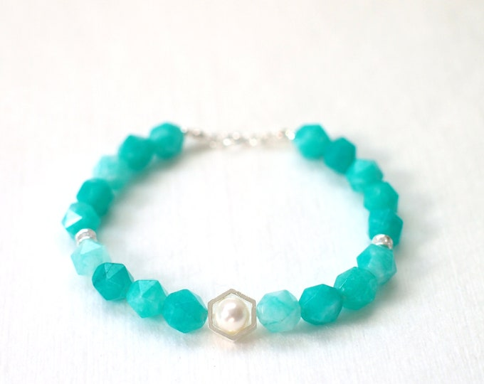 Amazonite Bracelet // Pearl Charm // 925 Sterling Silver // Stackable