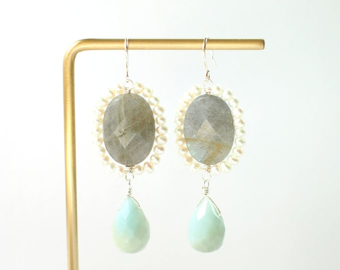Labradorite x Amazonite x Pearl Earrings // Vintage Inspired // 925 Sterling Silver