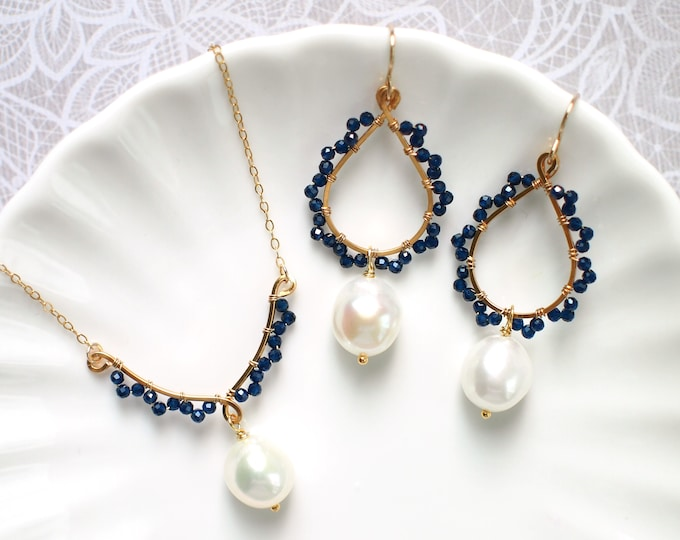 Baroque Pearls x Blue Quartz Bridesmaids Set // 14K Gold-filled // Wire-wrapped // Precious & Elegant