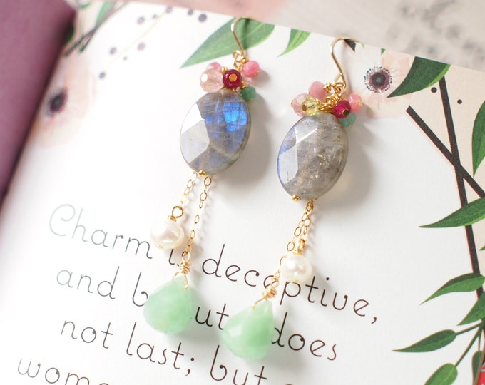 Labradorite x Amazonite x Pearls Earrings // Dangling Style // Gem Cluster // 14K Gold-filled // Wire-wrapped // Sassy & Fun