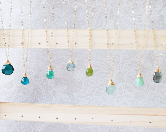 Gem Stone Necklace // Green Collection // Gem Stone Pendant // Wirewrapped // 14K Gold-filled