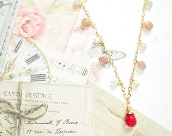 Fuchsia Quartz Necklace // Gem Charms // Strawberry Quartz x Sunstones x Moonstones // 14K Gold-filled
