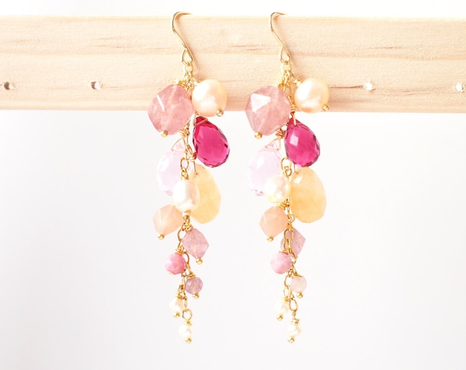 Natural Gems Earrings // Dangling Style // Gems Cluster // Sparkly & Precious // 14K Gold-filled