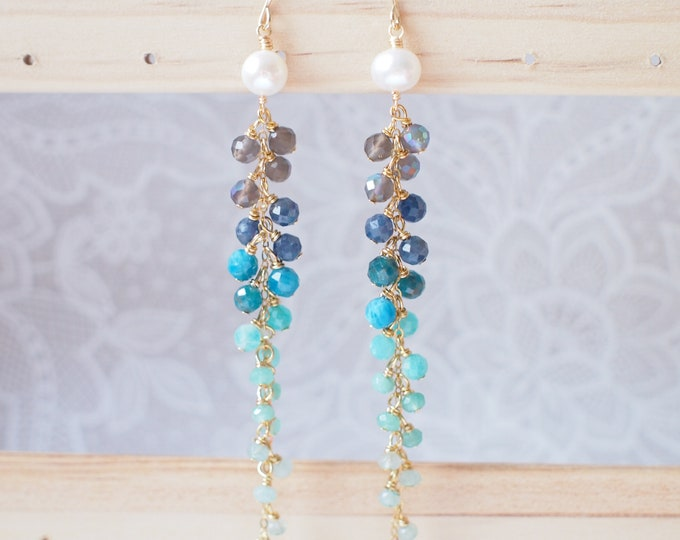 Pearls x Assorted Gems Dangling Earrings // Sparkly & Precious // Transitioning Colour // 14K Gold-filled // Striking and Unique