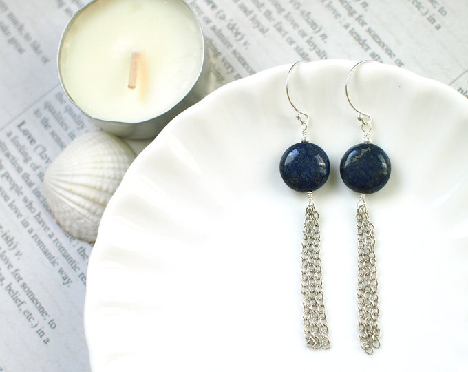 Lapis Lazuli Earrings // Dangling Chains // Elegant & Sophisticated // 925 Sterling Silver // Chic Earrings