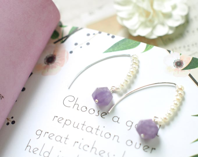 Lavender Amethyst x Pearls Earrings // Chic & Sweet // 925 Sterling Silver // Romantic