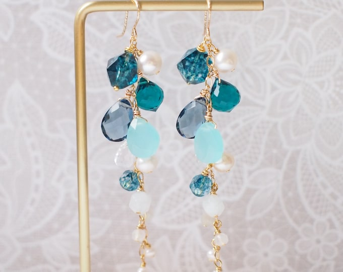Natural Gems Earrings // Blue Theme // Dangling Style // Gems Cluster // Sparkly & Precious // 14K Gold-filled
