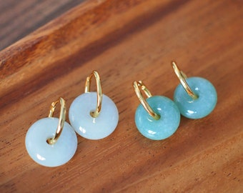 Type A Burmese Jade Donut Earrings // Jade on Hoops // 18K Gold-Plated over Silver // Classy and Chic