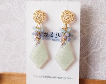 Jadeite Statement Earrings // Gem Cluster // Tanzanite x Chalcedony x Aquamarine // 14K Gold-filled // Modern & Elegant