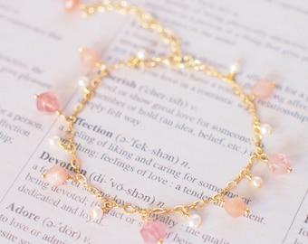 Sunstones x Strawberry Quartz x Pearls Charm Bracelet // Sparkly & Sweet // 14K Gold-filled // Dainty