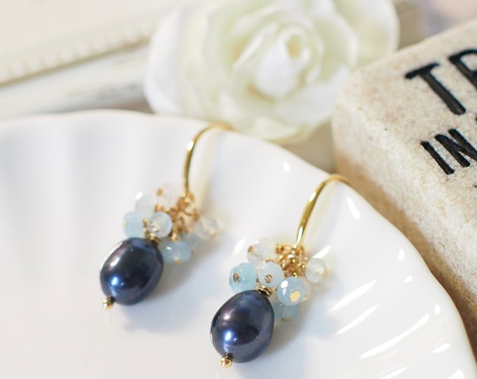 Prussian Blue Baroque Pearl Earrings // Gem Stone Cluster // Blue Chalcedony x Aquamarine x Moonstone // 14K Gold-filled // Dainty & Sweet