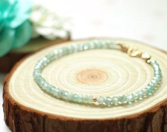 Apatite x Chalcedony Bracelet // Sparkly & Dainty // 14K Gold-filled