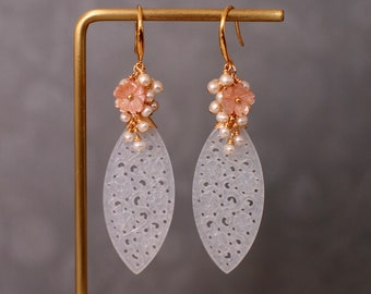 Type A Carved Jadeite Statement Earrings // Pearl Cluster // 14K Gold-filled // Graceful & Sweet