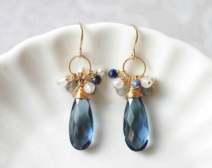 London Blue Quartz Earrings // Assorted Gems Cluster // 14K Gold-filled // Wire-wrapped // Elegant & Classy